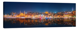 Lienzo  Istanbul and Bosporus at night