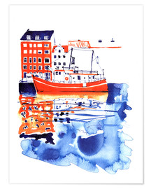 Póster  Copenhagen canal and harbour - Anastasia Mamoshina