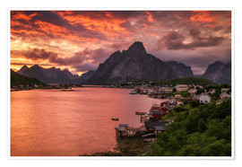 Póster Lofoten sunset in Reine