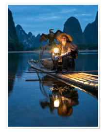 Póster Old cormorant fisherman in Guilin, China