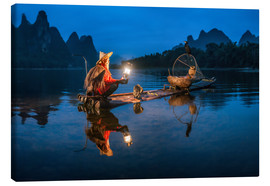 Lienzo  Chinese cormorant fisherman in front of karst landscape in Guilin, China - Jan Christopher Becke