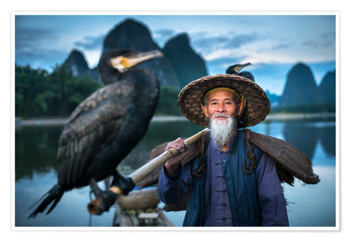 Póster Chinese fisherman with cormorant in Guilin, China