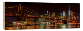Cuadro de madera  MANHATTAN SKYLINE & BROOKLYN BRIDGE Idyllic Nightscape - Melanie Viola