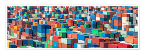 Póster Industrial shot of a container terminal with colorful ISO containers