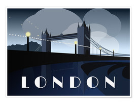 Póster  London Tower Bridge Art Deco style - Alex Saberi