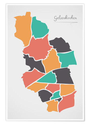 Póster Gelsenkirchen city map modern abstract with round shapes