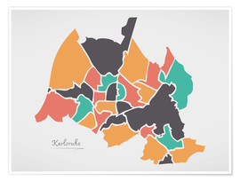 Póster Karlsruhe city map modern abstract with round shapes