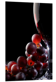 Cuadro de PVC  Red grapes and glass of wine - Johan Swanepoel