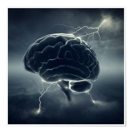 Póster conceptual image of brain storm