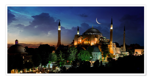 Póster View of Hagia Sophia after sunset