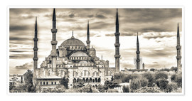 Póster  Blue mosque in sepia