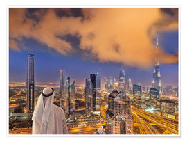 Póster  Arab man looks over Dubai