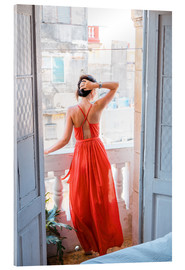 Cuadro de metacrilato  Young attractive woman in red dress