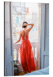Cuadro de aluminio  Young attractive woman in red dress