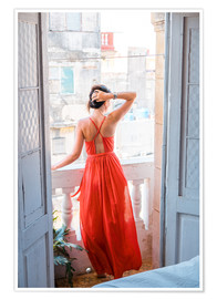 Póster  Young attractive woman in red dress