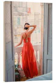 Cuadro de madera  Young attractive woman in red dress