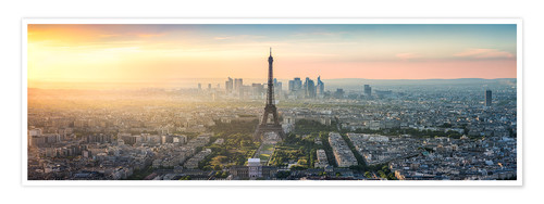 Póster Paris skyline with Eiffel tower at sunset