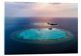Cuadro de metacrilato  Islands at sunset in the Maldives - Matteo Colombo