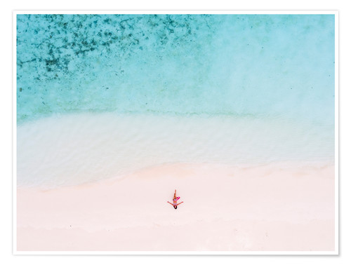 Póster Drone view of woman on the beach, Maldives