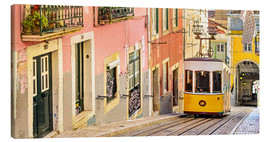 Lienzo  Yellow tram in Lisbon's old town - Jörg Gamroth