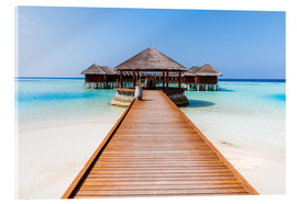 Cuadro de metacrilato  Jetty and overwater bungalows, Maldives - Matteo Colombo
