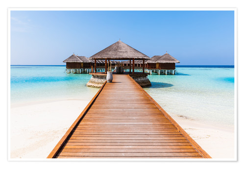 Póster Jetty and overwater bungalows, Maldives