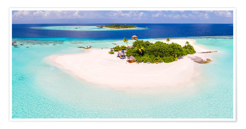 Póster Aerial view of island in the Maldives