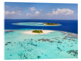 Cuadro de metacrilato  Aerial view of islands in the Maldives - Matteo Colombo