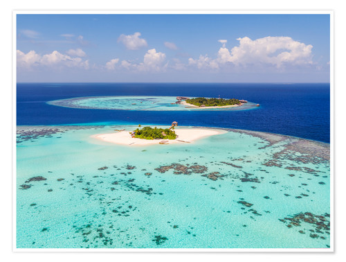 Póster Aerial view of islands in the Maldives