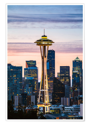 Póster Space Needle at sunrise, Seattle