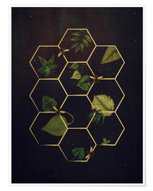 Póster bees in space