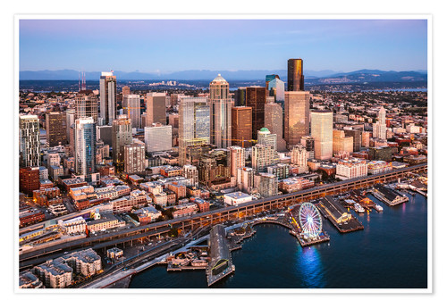 Póster Aerial view of Seattle skyline, USA