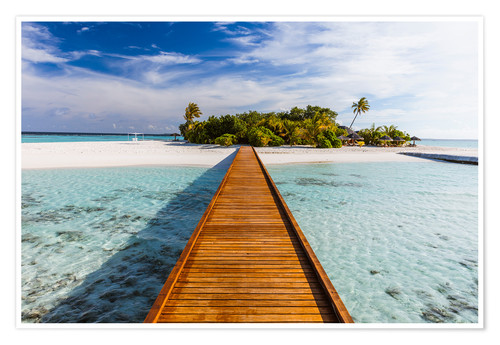 Póster Jetty to tropical island, Maldives