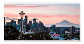 Póster  Seattle panoramic with Mount Rainier, USA - Matteo Colombo