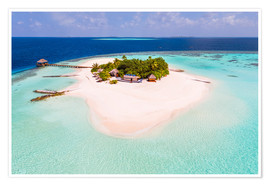 Póster  Drone view of paradise island, Maldives - Matteo Colombo