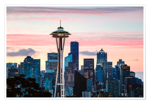 Póster Space Needle and Seattle skyline, USA
