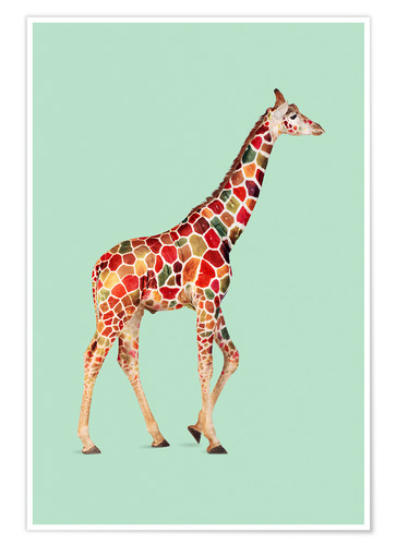 Póster COLORED GIRAFFE