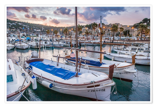 Póster Evening mood in the port of Port Soller (Mallorca)