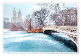 Póster  Central Park Winter, Bow Bridge - Sascha Kilmer