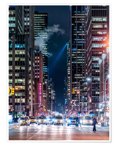 Póster New York Sixth Avenue at Night