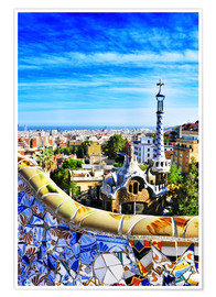 Póster  Park Guell in Barcelona