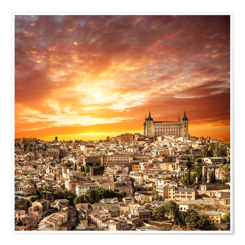 Póster Toledo over sunset