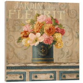 Madera  25845 20x20HR Tulips in Teal and Gold Hatbox - Danhui Nai