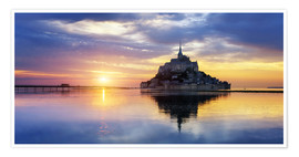 Póster Le Mont-Saint-Michel at sunset