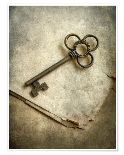 Póster Still life with old ornamented key