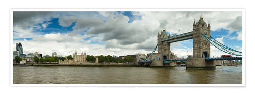 Póster Panorama Tower Bridge and Tower of London
