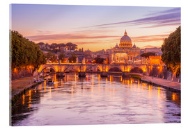 Cuadro de metacrilato  Skyline of Rome in a magenta dawn