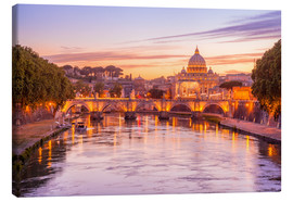 Lienzo  Skyline of Rome in a magenta dawn
