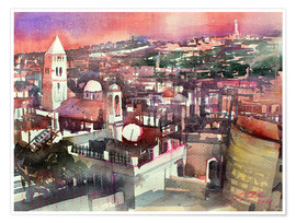 Póster  Jerusalem, Old Town with Church of the Redeemer - Johann Pickl