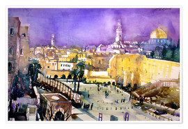 Póster  Jerusalem, Dome of the Rock with Wailing Wall - Johann Pickl